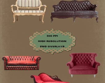 5 High Resolution Vintage Couch Overlays, Separate PNG Files, Instant Download.