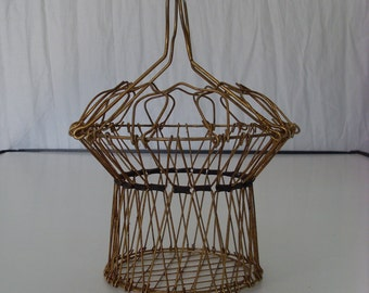 A Rare Antique Vintage Collapsible Wire Basket,Country,Europe,Metal