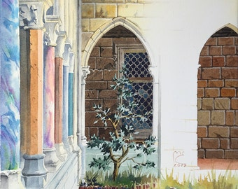 Watercolor. The Cloisters, New York, NYC, USA. Original artwork.