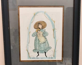 RARE P Buckley Moss Alexis Professionally Framed Matted Print Limited Edition