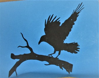 Raven, Crow, Custom Design, Wall Hanging, Metal Art, Handcrafted