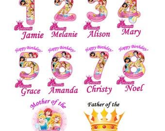 Princess Birthday Ariel Belle Cinderella Jasmine numbers T shirt Iron on Transfer personlized age mom dad