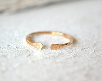 14k SOLID Gold Open Ring, 14k Cuff Ring, Minimalist Ring, 14k Yellow Gold Cuff Ring, Solid Gold Midi Ring, 14k Open Ring