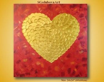 Gold heart, Heart painting 3D Art, Love painting Wedding gift, Modern art, Beautiful wall decor, Original wall decor, Textured painting