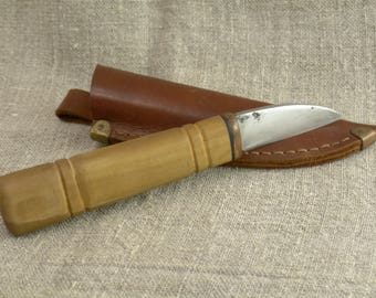 """Hand forged knife """"Crow's beak"""" with sheath High Carbon Steel"""