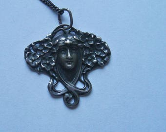 Art Noveau Sterling Silver Pendant and Chain Antiqued