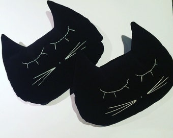 Cat milleraie color black velvet cushion handmade in France
