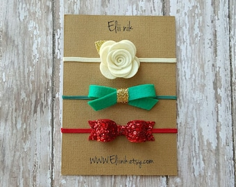 Christmas headband set, baby headbands , baby headband set , Red bow headband, Newborn headband, felt baby headband set, glitter red bow