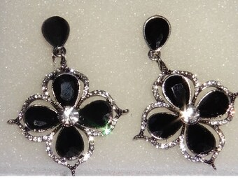 Lovely Dropper Dangly Earrings Jet Black and Rhinestones. Clip On