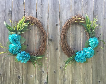 grapevine wreaths with turquoise hydrangeas, front door wreaths