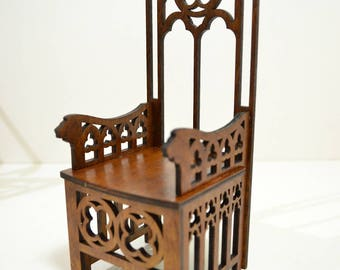 Gothic Throne for dolls Chair wooden for little Princess