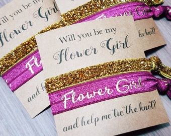 Will You Be My Flower Girl and Help Me Tie The Knot Hair Tie Favor | Flower Girl Proposal | Will You Help Me Tie The Knot | Flower Girl Gift