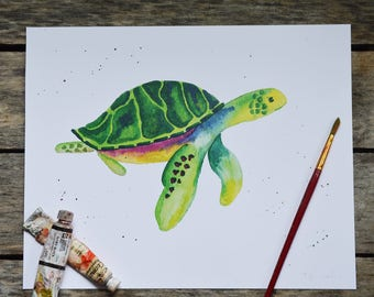 Sea Turtle Watercolor Print