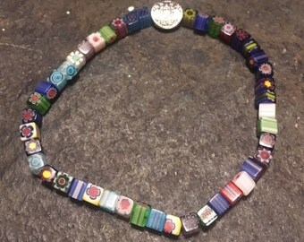 Multi colored square millefiori glass beaded stretchy bracelet