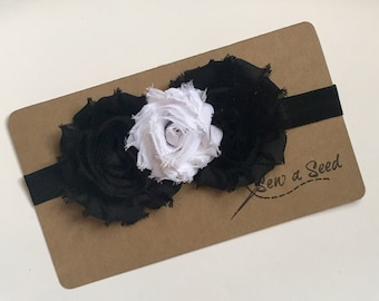 Black and White Headband, Flower Headband, Baby Headband, Black and White Flower Headband, Black and White Flower Girl