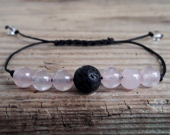 Rose quartz diffuser bracelet lava bracelet essential oil rose quartz lava bracelet meditation yoga bracelet stress anxiety relief bracelet
