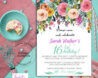 Birthday Party Invitation Template, Watercolor Floral, Editable PDF, boho,roses, 16 years, 16th birthday, PDF instant download, DIY birthday