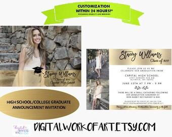Graduation Invitation, Graduation Announcement, College High School, Senior Announcement, Invitation, Photo Grad, Graduate, Class of, Custom