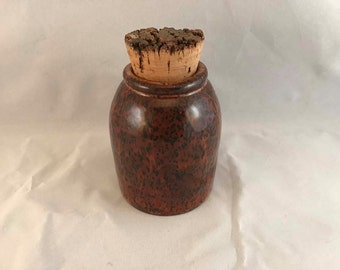 Small Brown Stash Jar with Cork