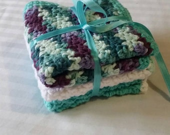 100% cotton Hand crocheted washcloths. Storm colors. Set of 3