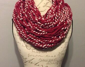 Infinity Scarf, Arm knit, Cranberry Twist, Women's Scarf, Fashion scarf
