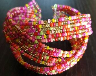 Pink multicolored open cuff beaded bracelet