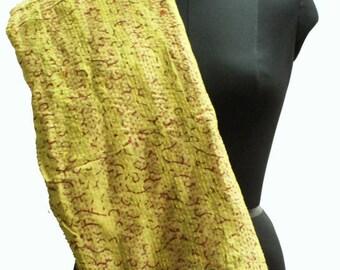 Hand Embroidered Kantha Silk Scarf, Patchwork Silk Scarf, Multicoloured Wrap Around, Neck Scarf, Indian Silk Scarf, Floral Print Scarf