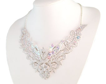 Lace Statement Necklace - Bridal - Lace Necklace - Free US Shipping