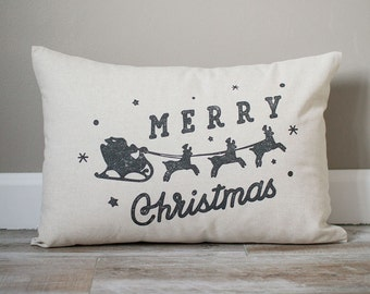 Merry Christmas Pillow | Santa Pillow | Reindeer Pillow | Holiday Gift | Christmas Gift | Rustic Decor | Holiday Decor | Christmas Decor