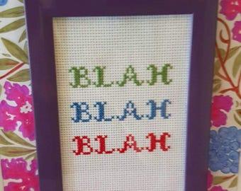 Blah Blah Blah framed cross-stitch