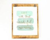 Mint and Gold Foil Print - JPII Quote