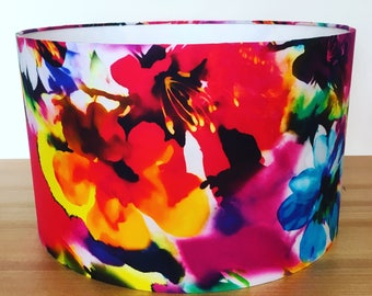 Fabric lampshade. Stunning multicoloured marbled abstract flowers.