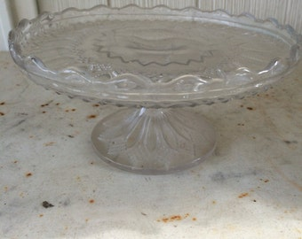 """Vintage Pressed Glass Footed Cake/Truffle Plate 6 1/4"""" diameter"""