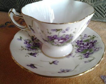 Hammersley bone china violets cup and saucer.