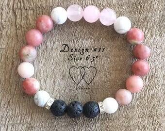Design #11, Howlite, Lepidolite and Rose Quartz Lava Bracelet, Diffuser Bracelet, Gemstone Bracelet