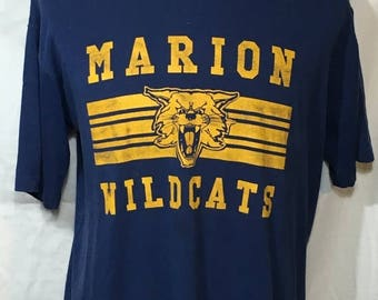 SALE 25% OFF Vintage Marion Wildcats 1980's SOFT t-shirt - vintage tees - vintage t shirt - sports - Blue (Xl)