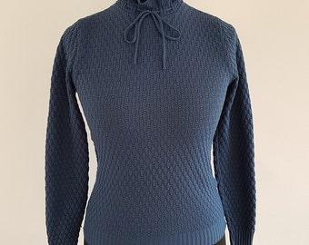 Vintage BHS teal blue knitted long-sleeved polyester jumper - UK Size 14