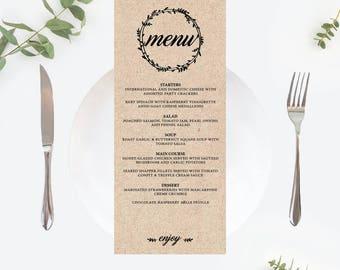 Printable menu cards   Etsy