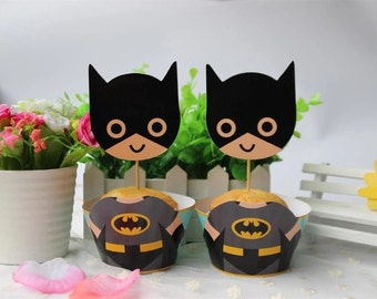 12 sets batman cupcake wrappers and toppers,kids batman decoration,batman cupcake toppers, batman toppers