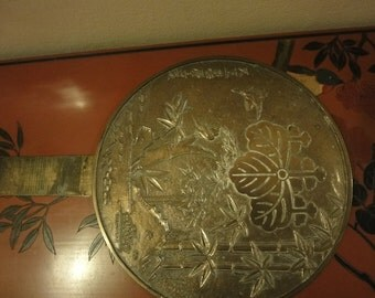 Japanese Brass Hand Mirror with bird in trees designed to back  size L=33cm  w=23cm
