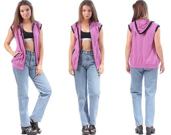 ADIDAS Tank Top Hooded Sweatshirt 1990s Zip Up Sleeveless Pink Black Work Out Top 90s Sport Hipster Hip-Hop Medium to Large