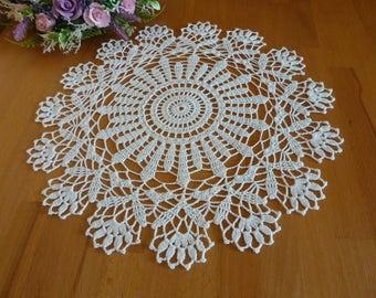 white doily,Crochet napkin,crochet doily,crochet tablecloth,table centerpiece,crochet gift,beautiful crochet,floral doily,crochet lace