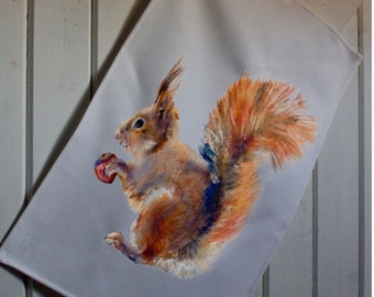 Red Squirrel tea towel Squirrel watercolour UK made 100% Cotton tea towel Squirrel gift hand printed can be personalised to make unique