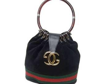 Gucci Luxurious Black Suede Lucite Handle Handbag  1970's.