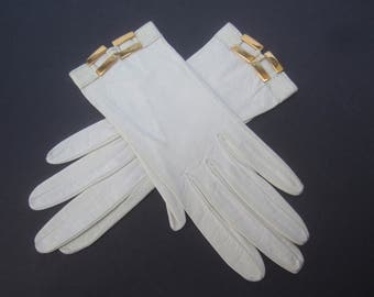 HERMES Paris Chic White Leather Driving Gloves c 1970