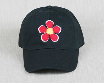 Ladies black baseball cap with handmade flower decal