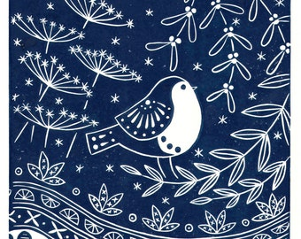 Jacinta Robin in midnight blue or red, limited edition scandi style linocut, bird lover print