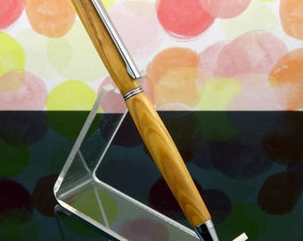 Olive Wood Pen, Bethlehem Olive Wood Pen, Holy Land Pen, Wood Pen, Slimline Pen, Bethlehem Pen, Olive Wood Chrome, Graduation Gift Pen