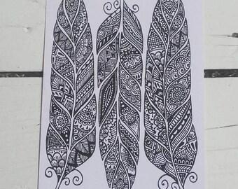 Feathers Postcard - Henna Mehndi Art - Feather Zentangle - Mandala