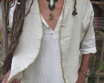 Mens linen vest, festival clothing, goa style
